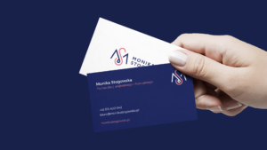 Elegant business cards on white and blue background