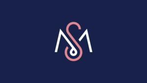 Minimal white and pink logo on blue background