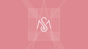 Logo construction on pink background